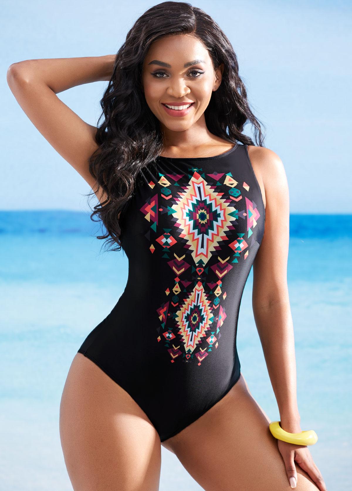 ROTITA Open Back Geometric Print One Piece Swimwear