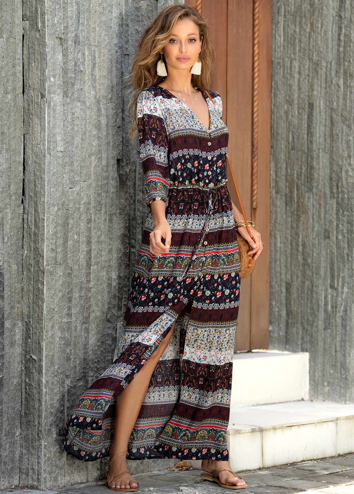 Bohemian Print Side Slit Cover Up