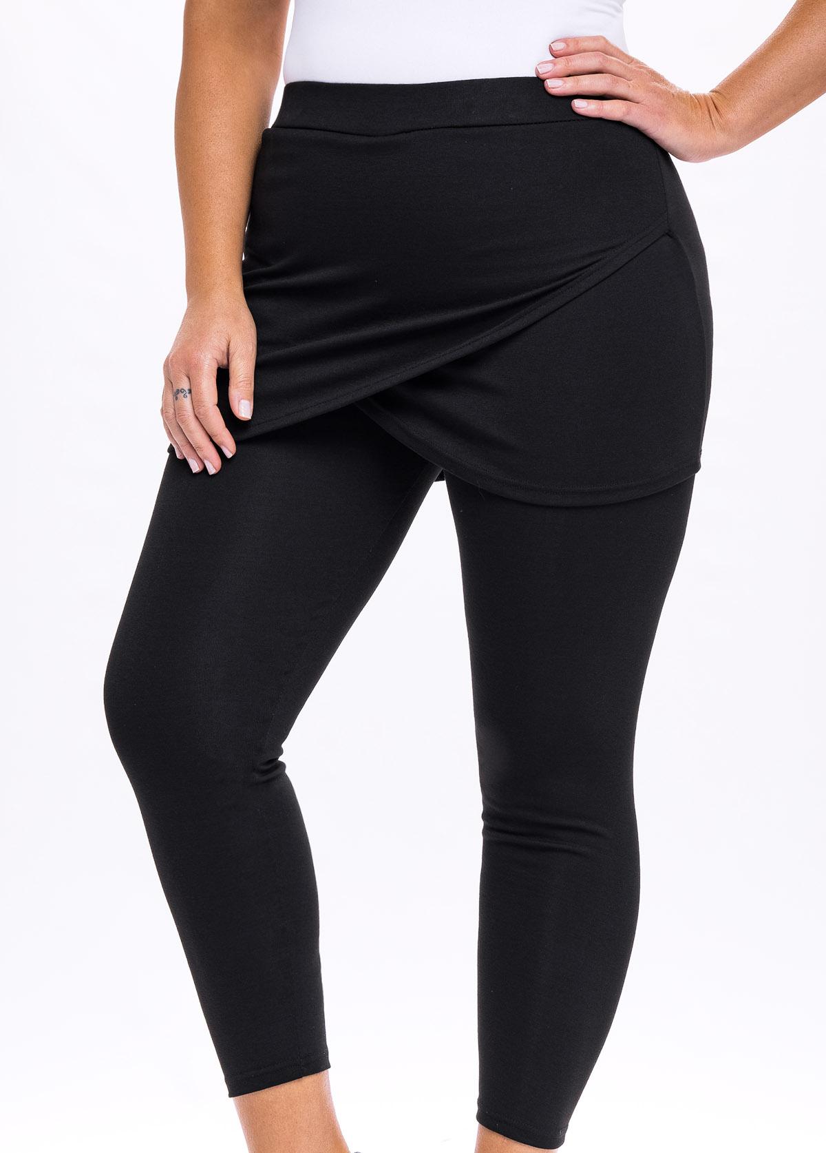 Asymmetric Hem Plus Size High Waisted Pants