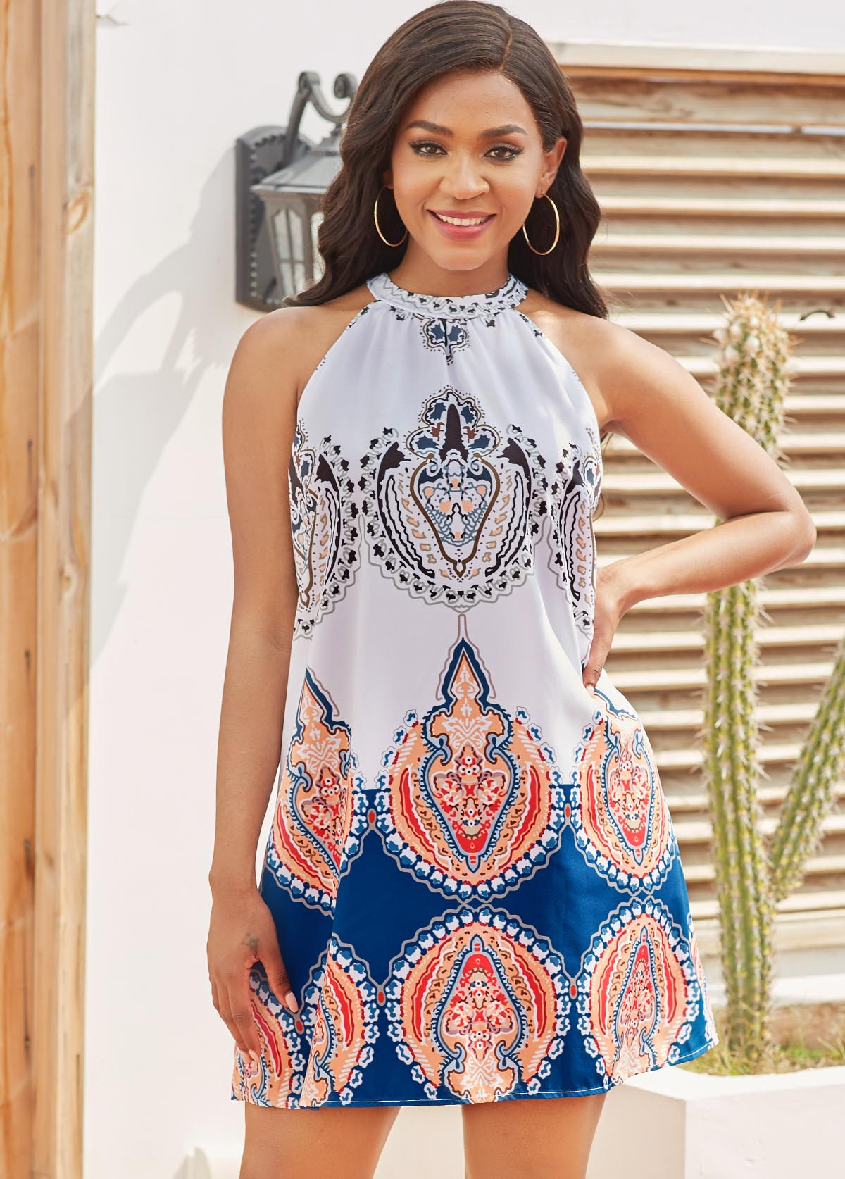 ROTITA Tie Back Tribal Print Sleeveless Dress