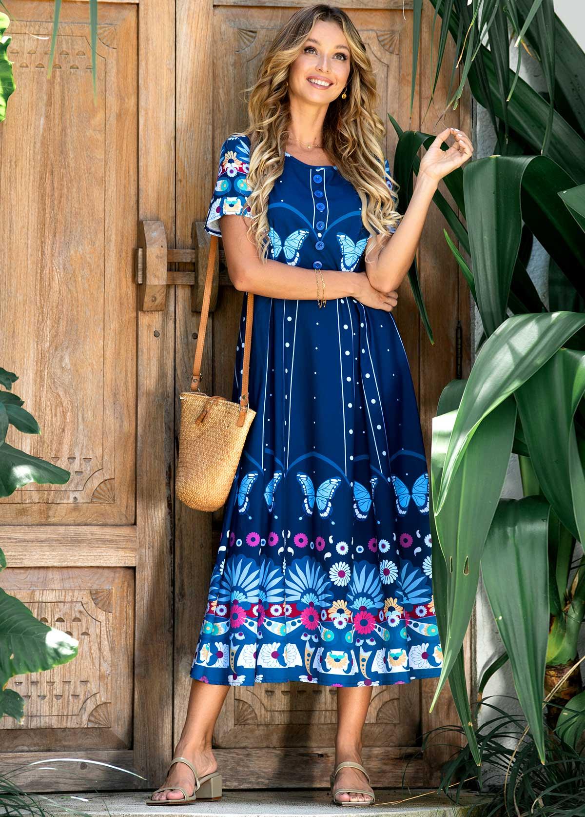 ROTITA Round Neck Short Sleeve Printed Dress