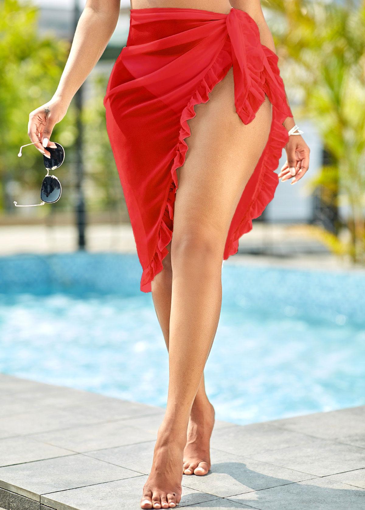 Chiffon Ruffle Hem Solid Tie Side Beach Skirt