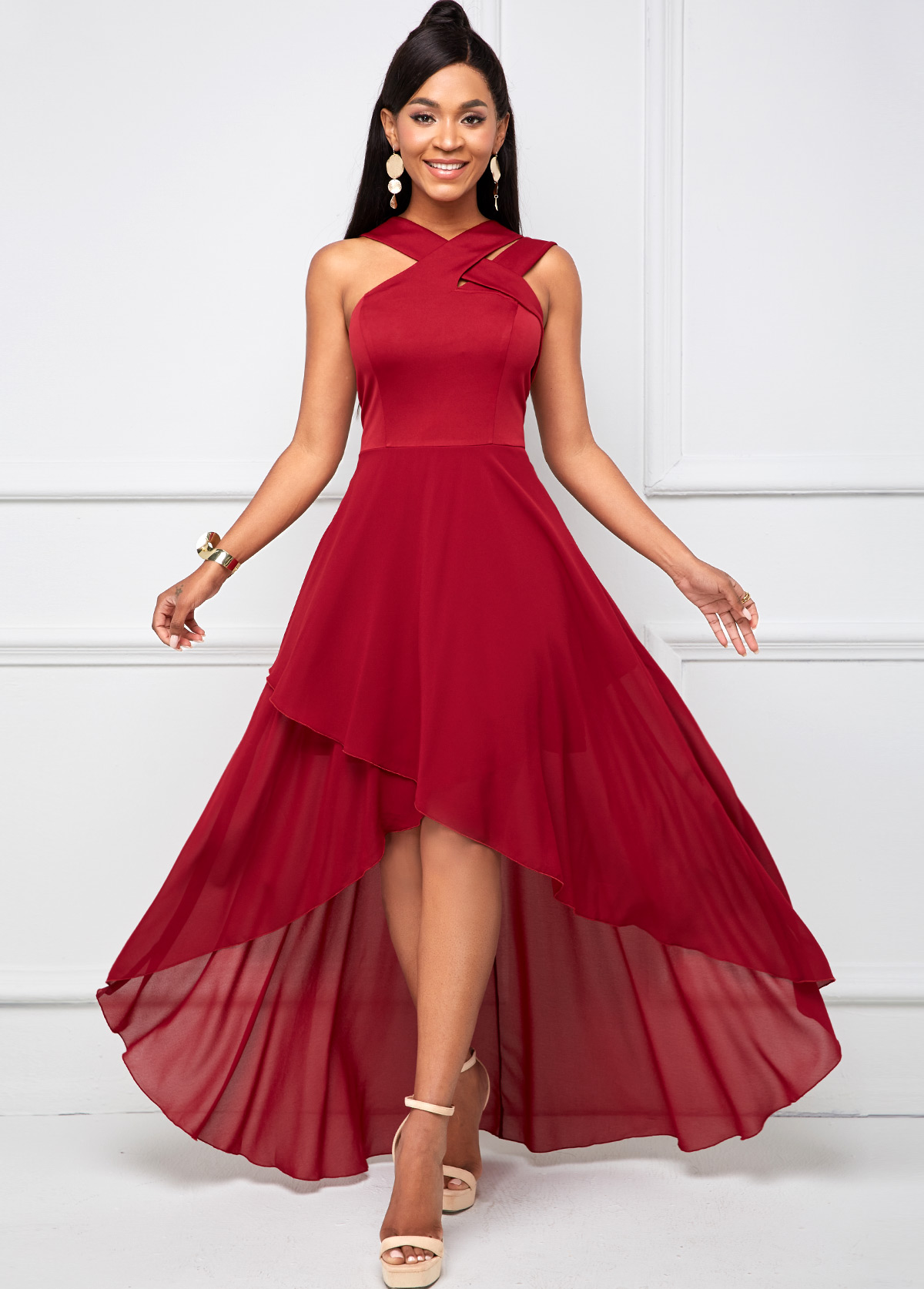 ROTITA Cross Strap Dip Hem Sleeveless Maxi Dress