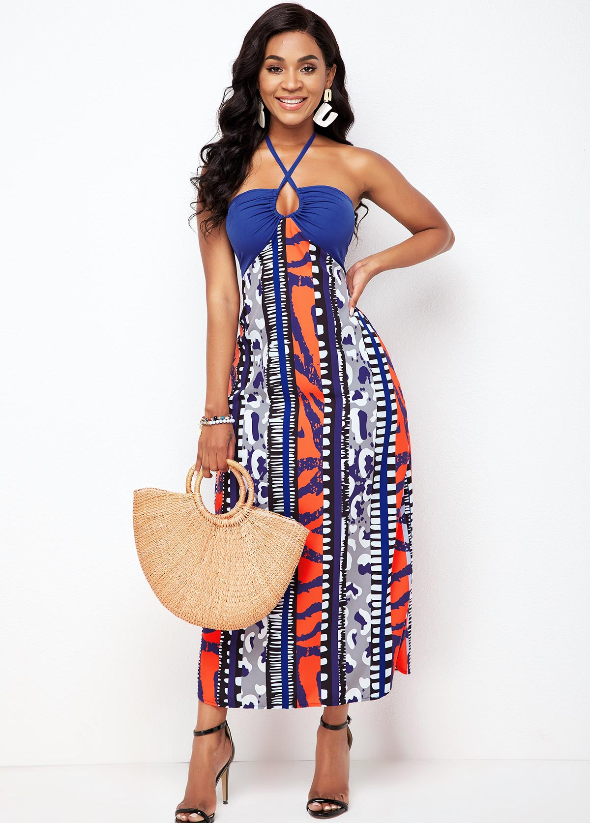 ROTITA Tribal Print Cross Halter Tie Back Dress