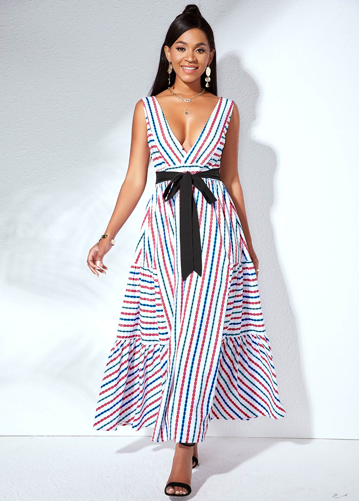 ROTITA Strip Print V Back Belted Swing Dress