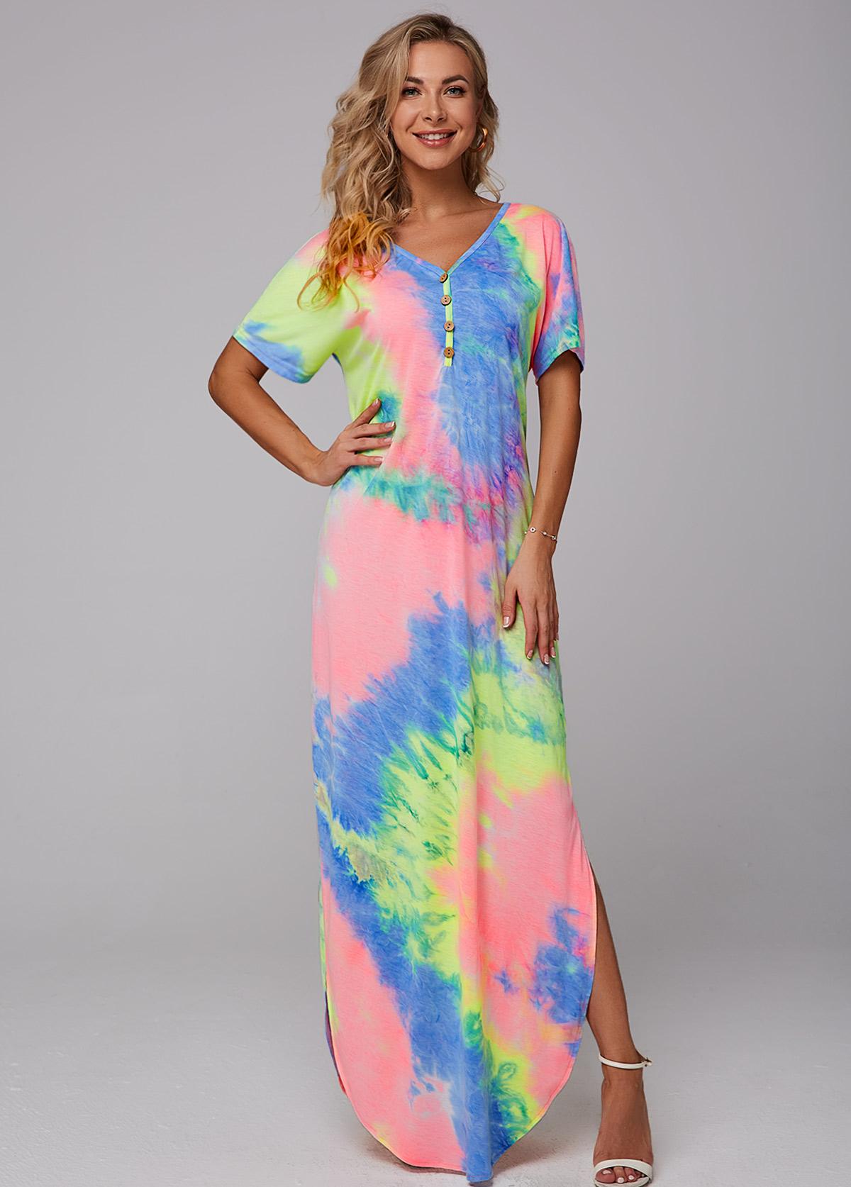 ROTITA Side Slit Tie Dye Print Maxi Dress