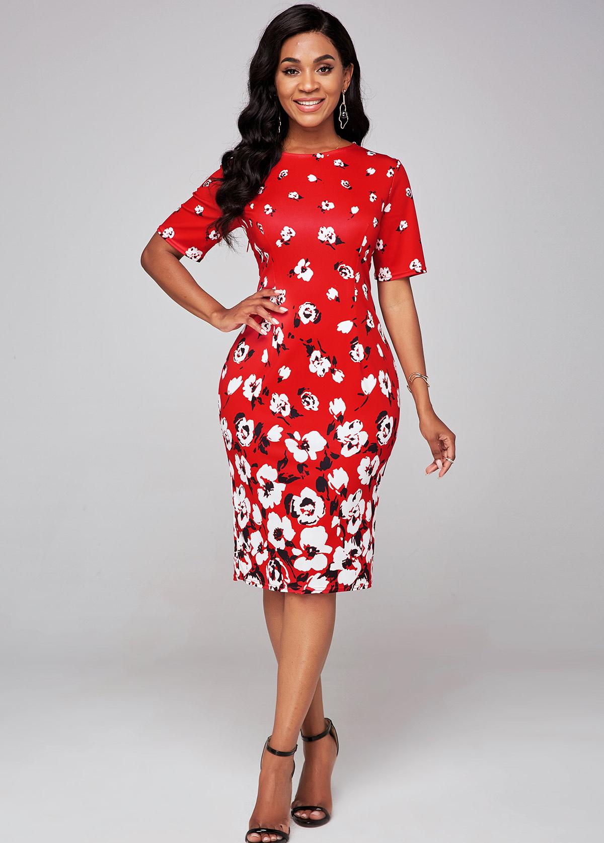 ROTITA Short Sleeve Floral Print Round Neck Bodycon Dress
