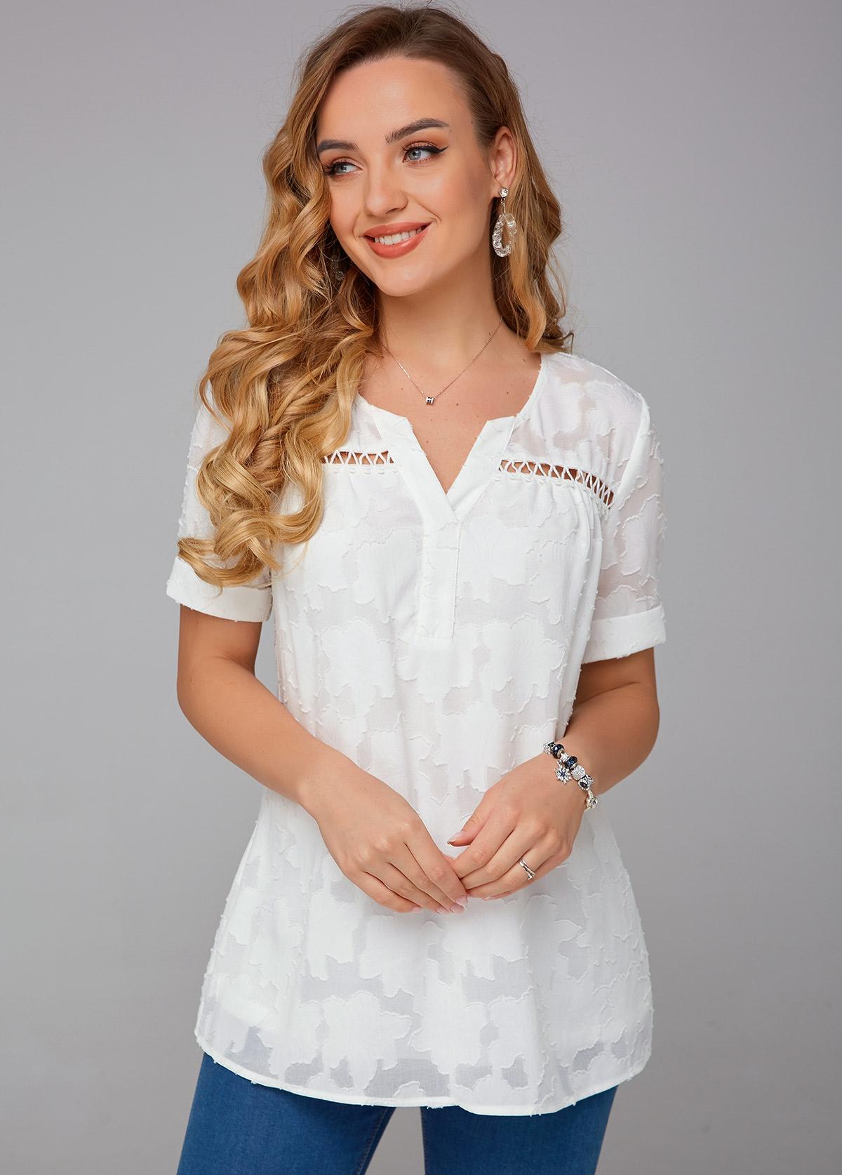 ROTITA Short Sleeve Split Neck Solid Blouse