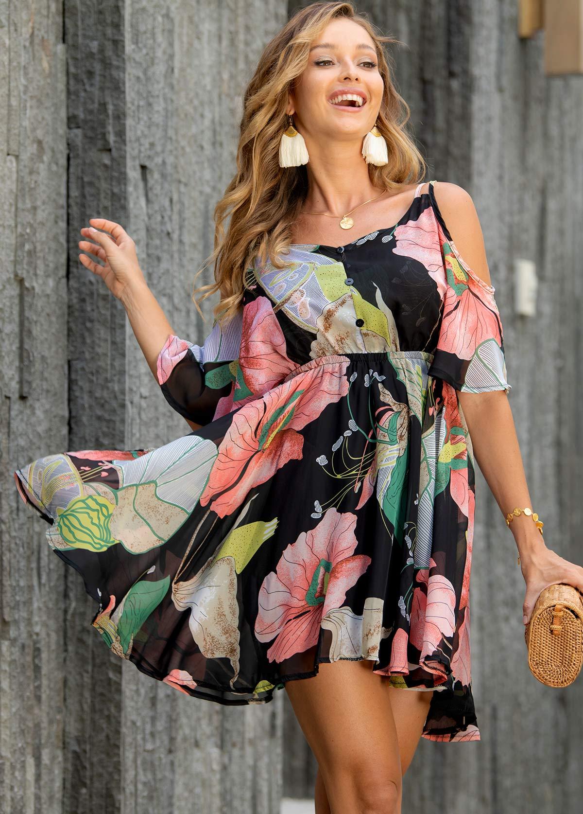 Floral Print Strappy Cold Shoulder Dress