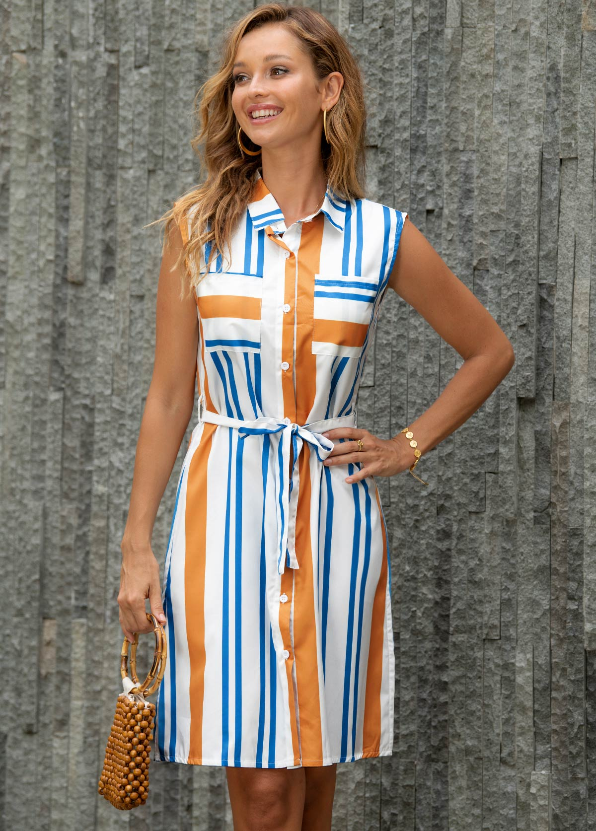 Striped Turndown Collar Belted Button Up Dress