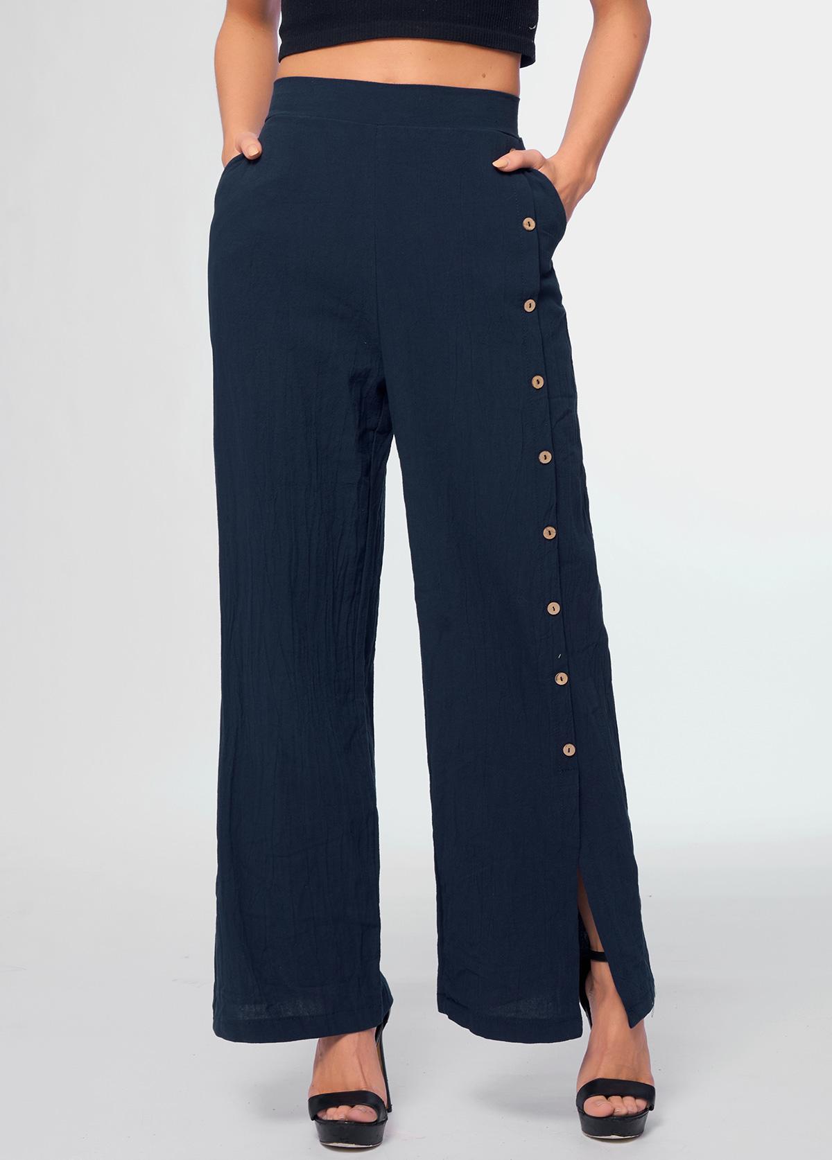 High Waist Button Detail Pocket Pants