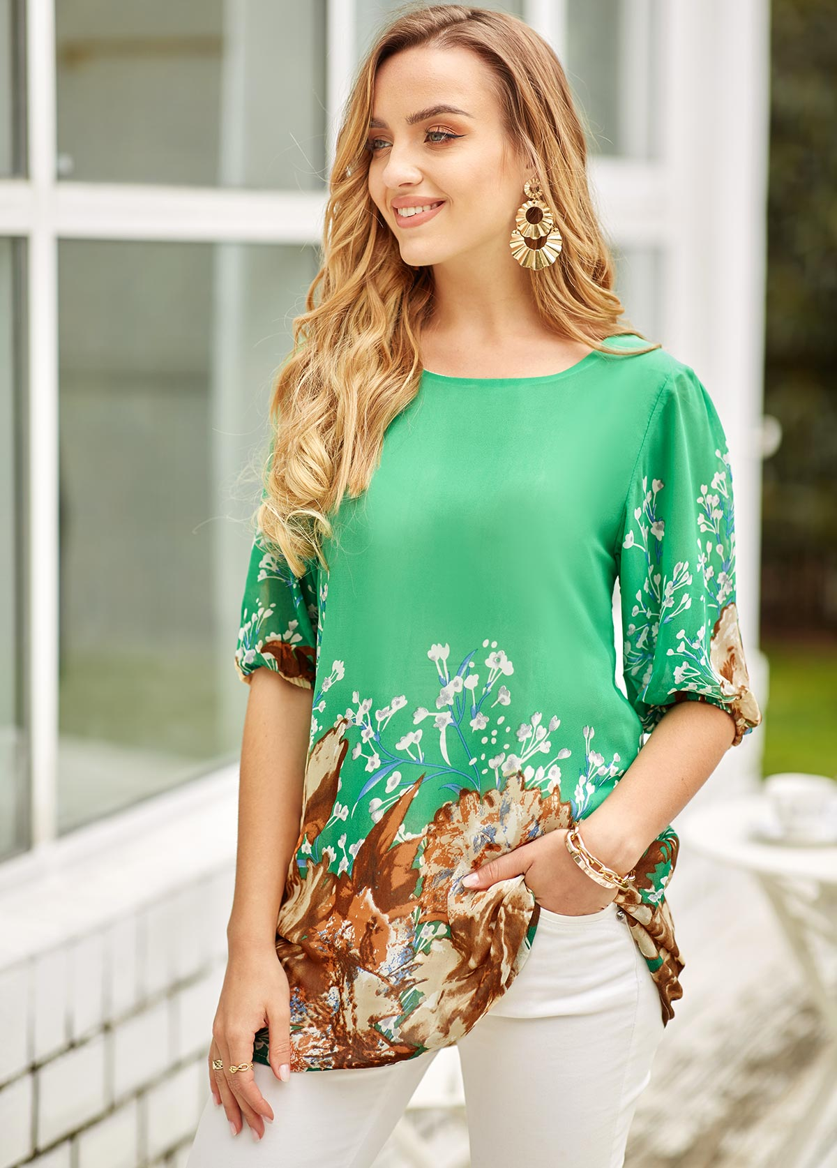 Blouson Sleeve Floral Print Round Neck T Shirt
