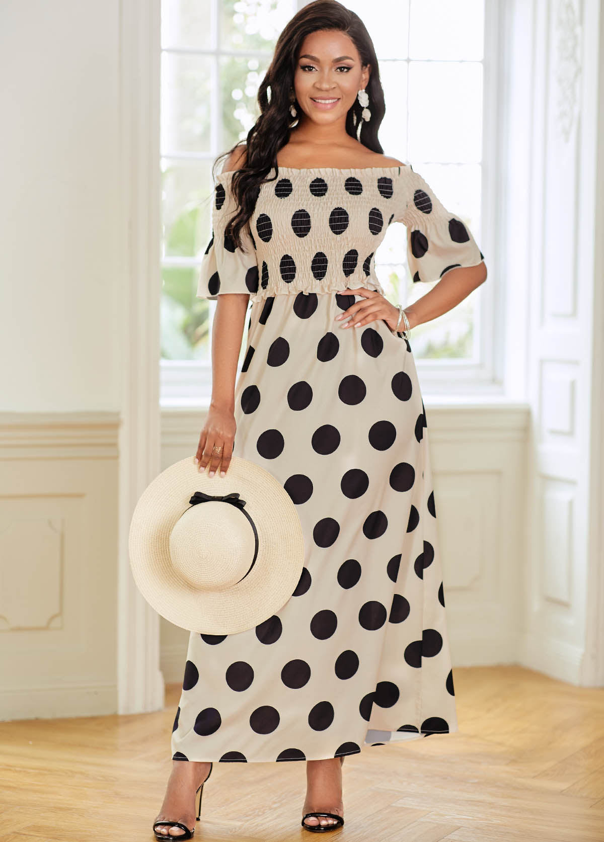 Off Shoulder Polka Dot Shirred Dress