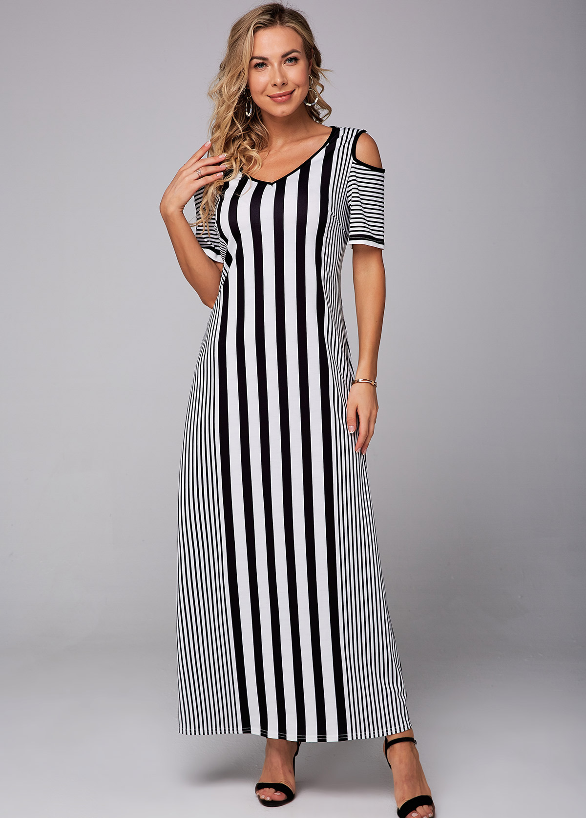 ROTITA V Neck Cold Shoulder Striped Maxi Dress