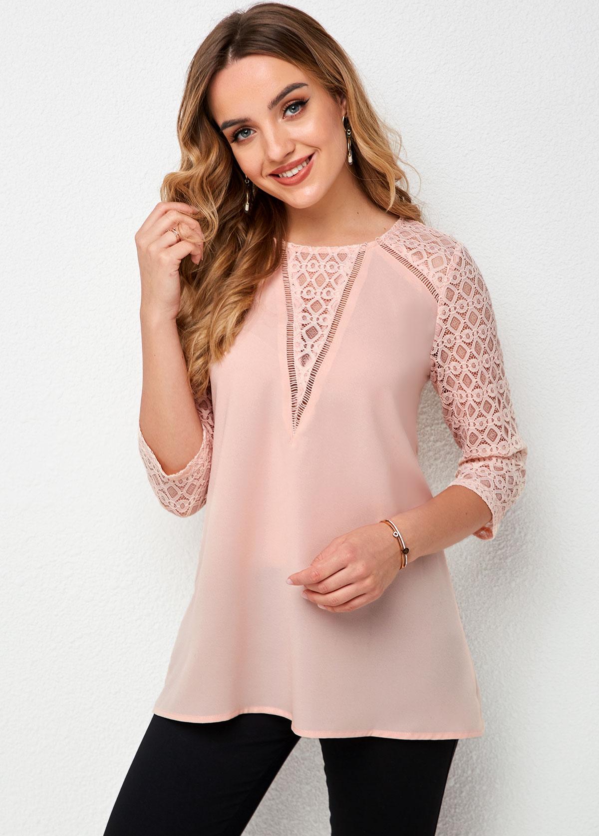ROTITA Round Neck Lace Stitching 3/4 Sleeve T Shirt