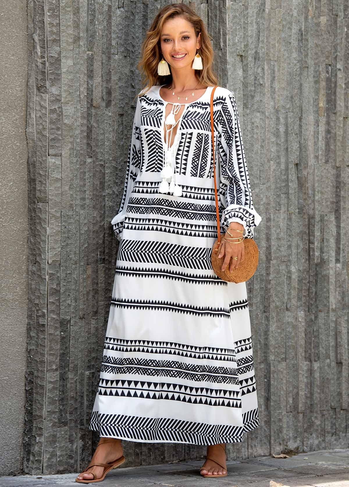 Tassel Tie Geometric Print Maxi Dress