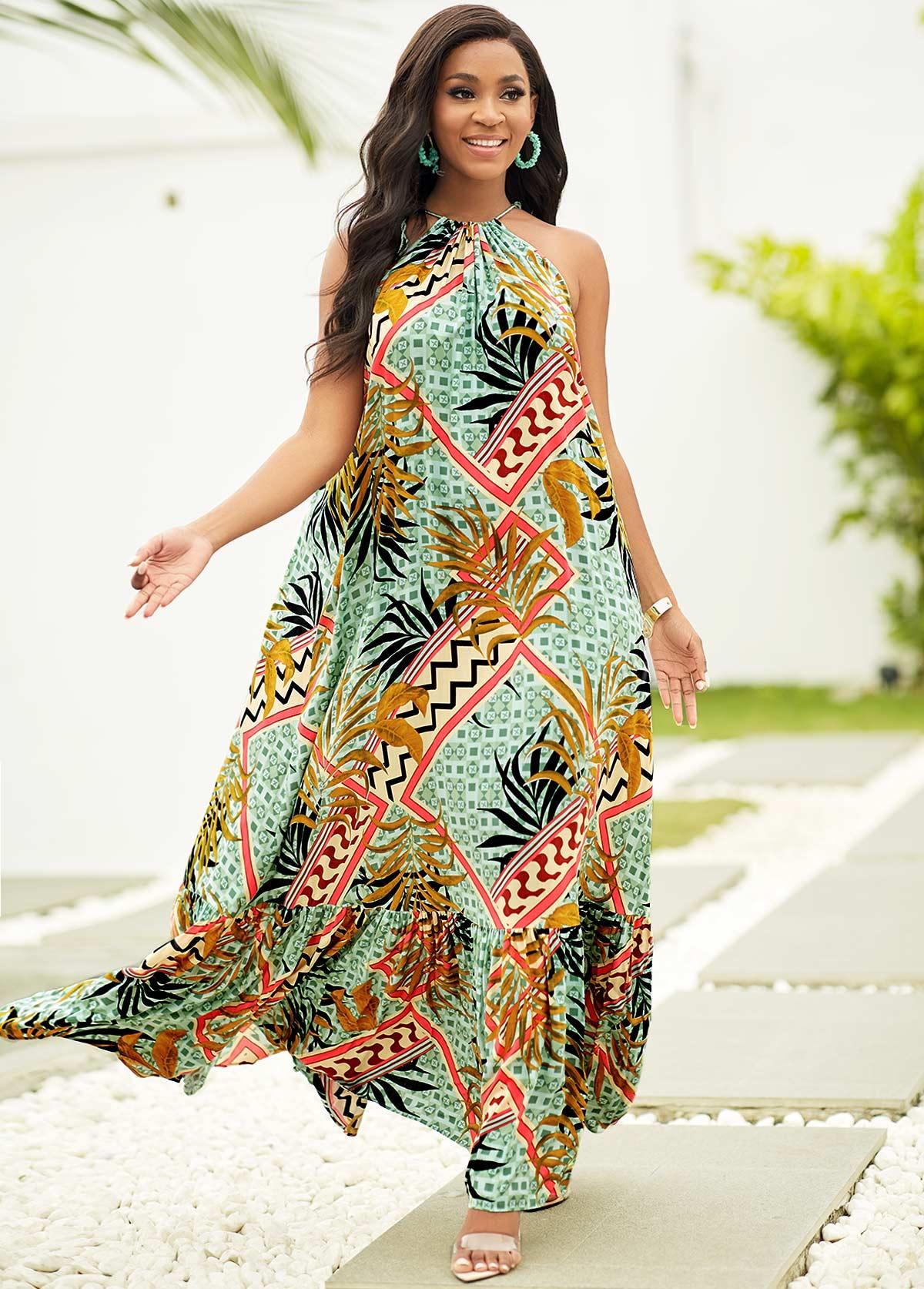 ROTITA Leaf Print Tassel Detail Maxi Dress