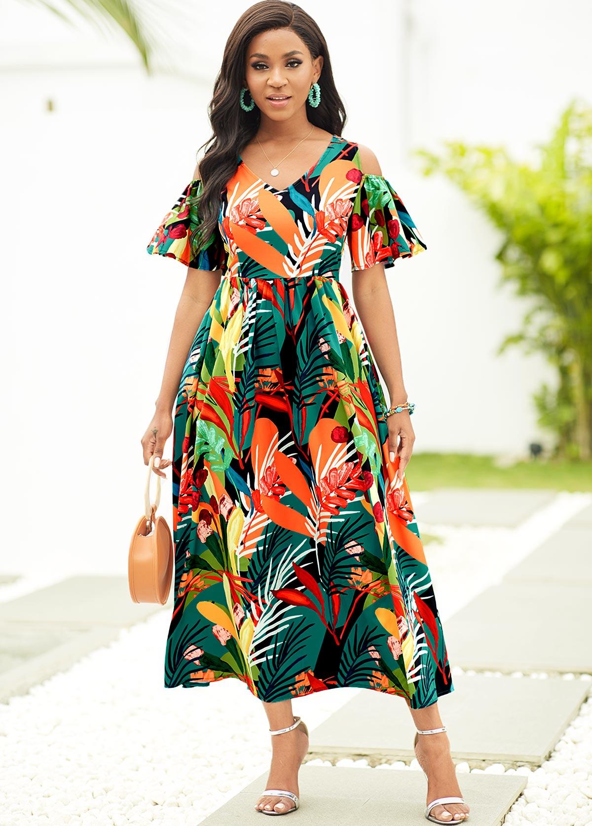 ROTITA Cold Shoulder Tropical Print V Neck Dress