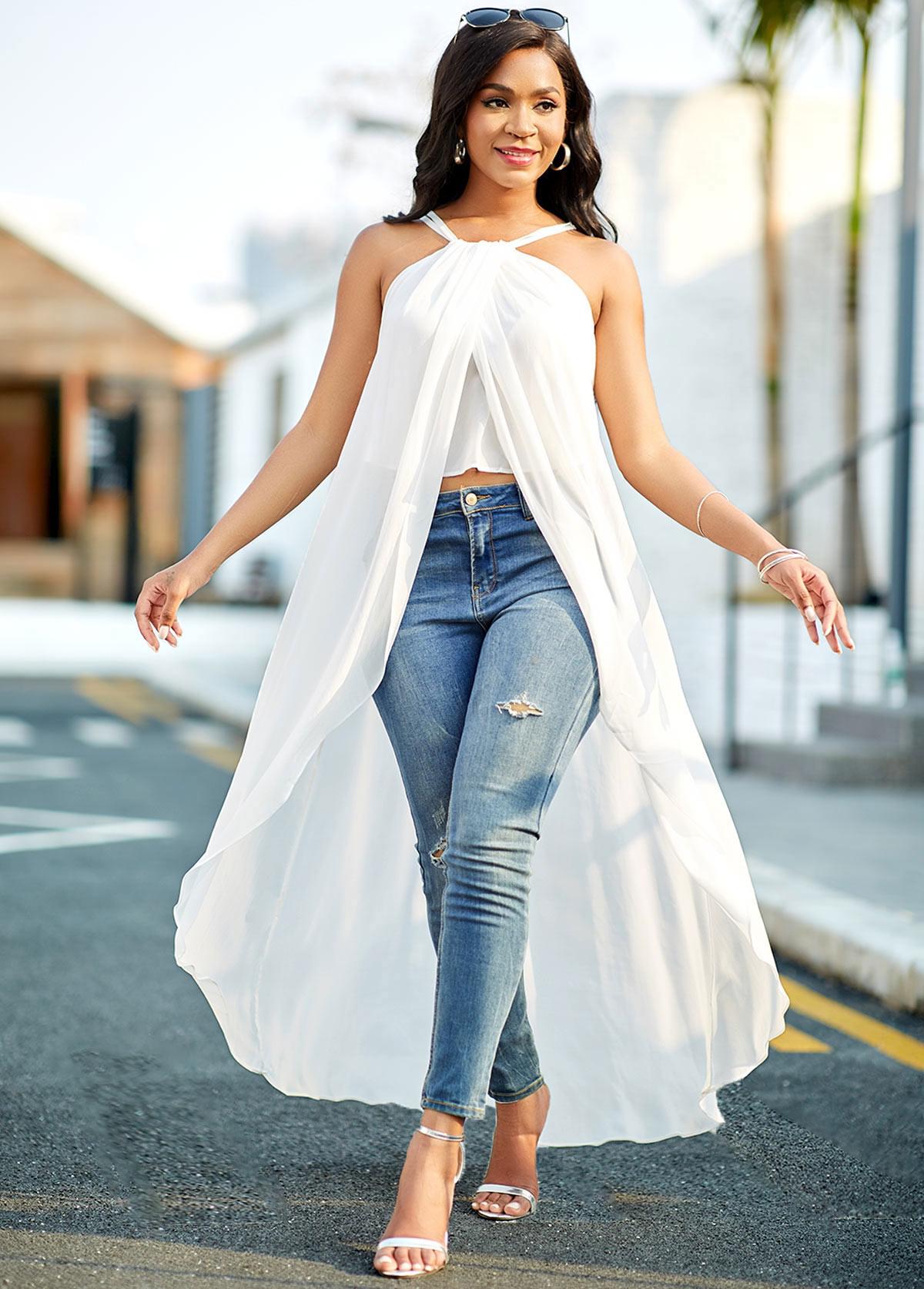 ROTITA Asymmetric Hem White Cross Strap Chiffon Blouse