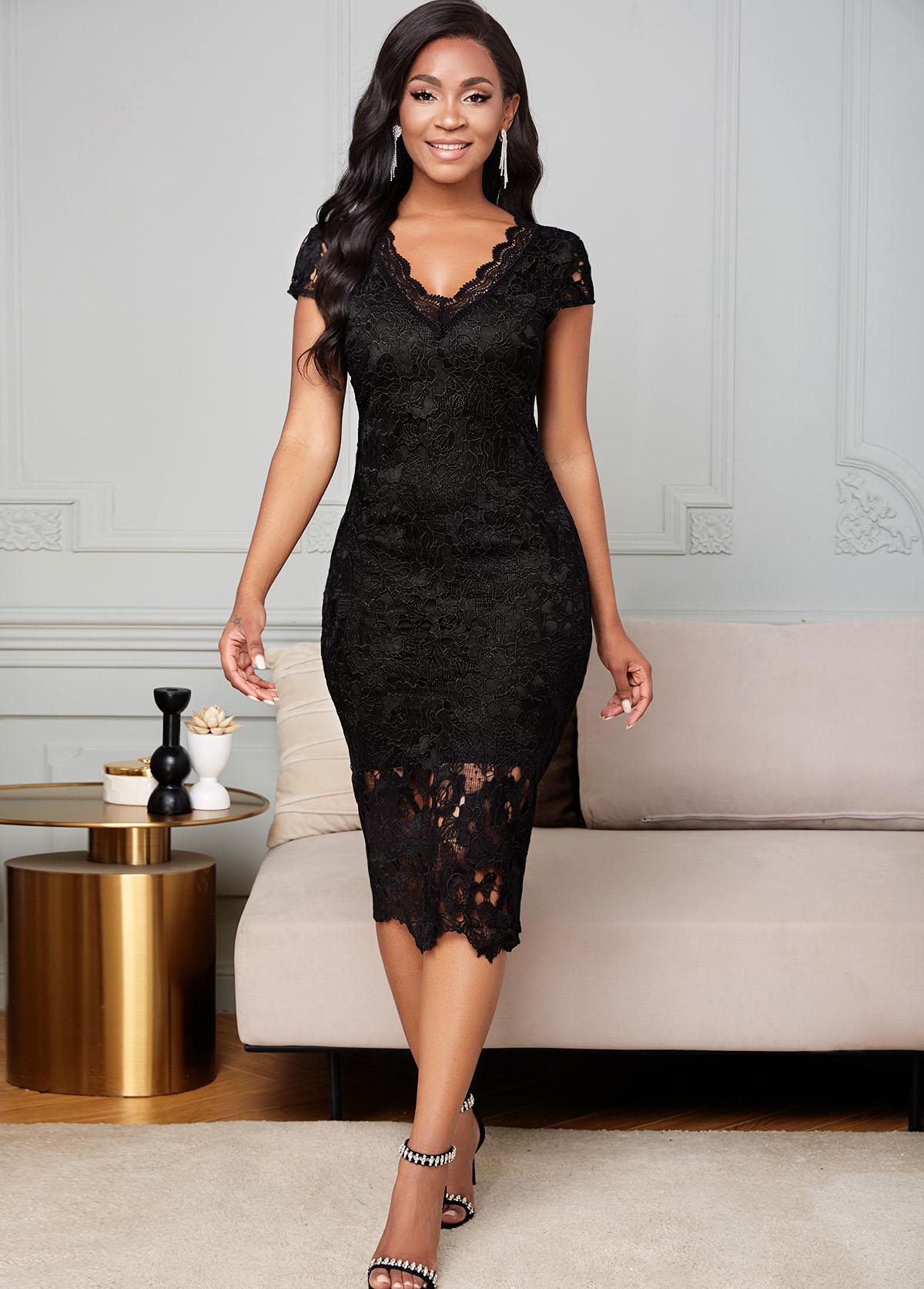 Lace V Neck Short Sleeve Bodycon Dress