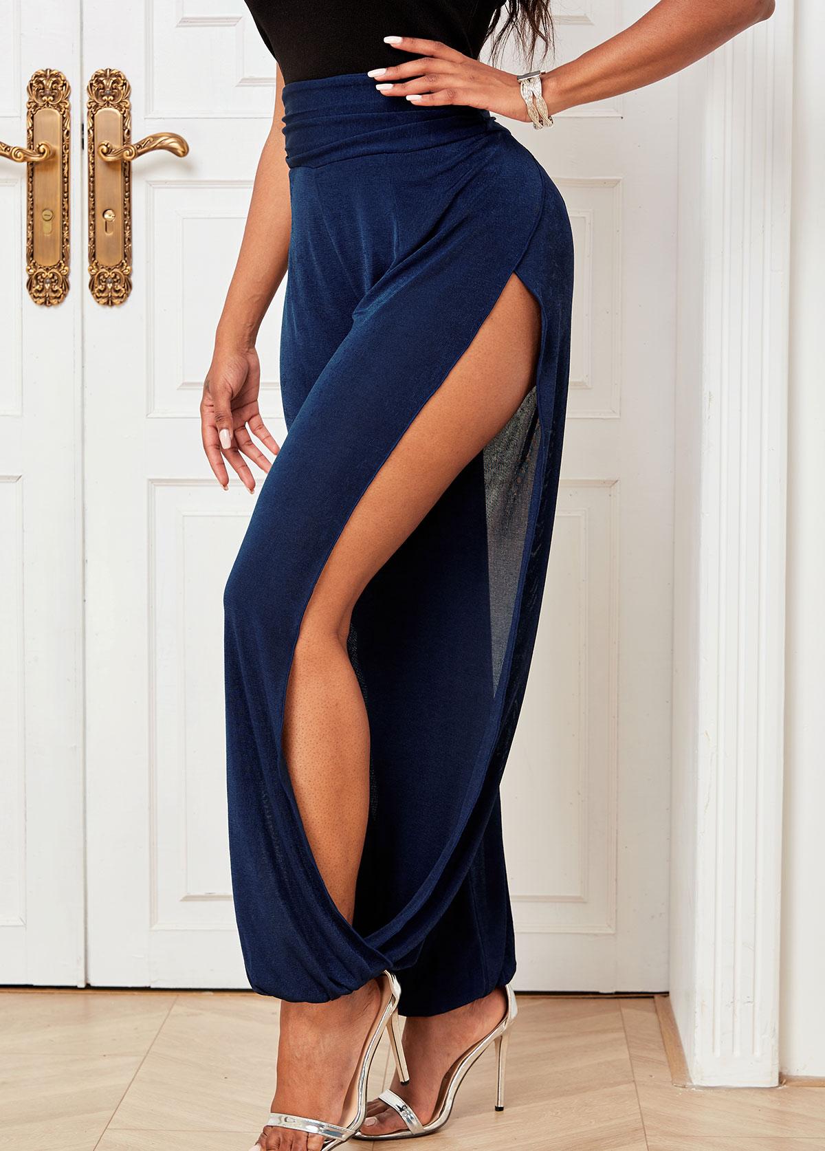 ROTITA Cutout Leg Solid High Waisted Pants