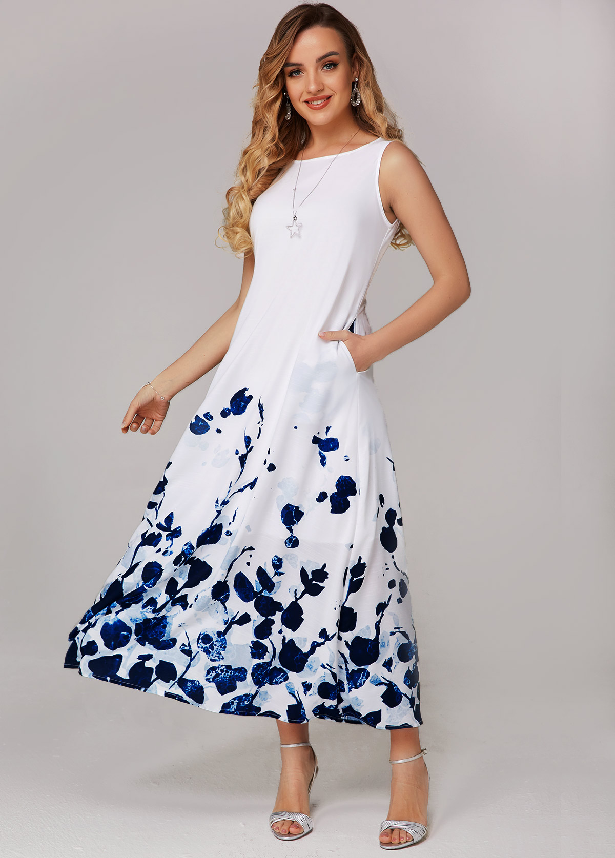 ROTITA Pocket Detail Floral Print Wide Strap Dress