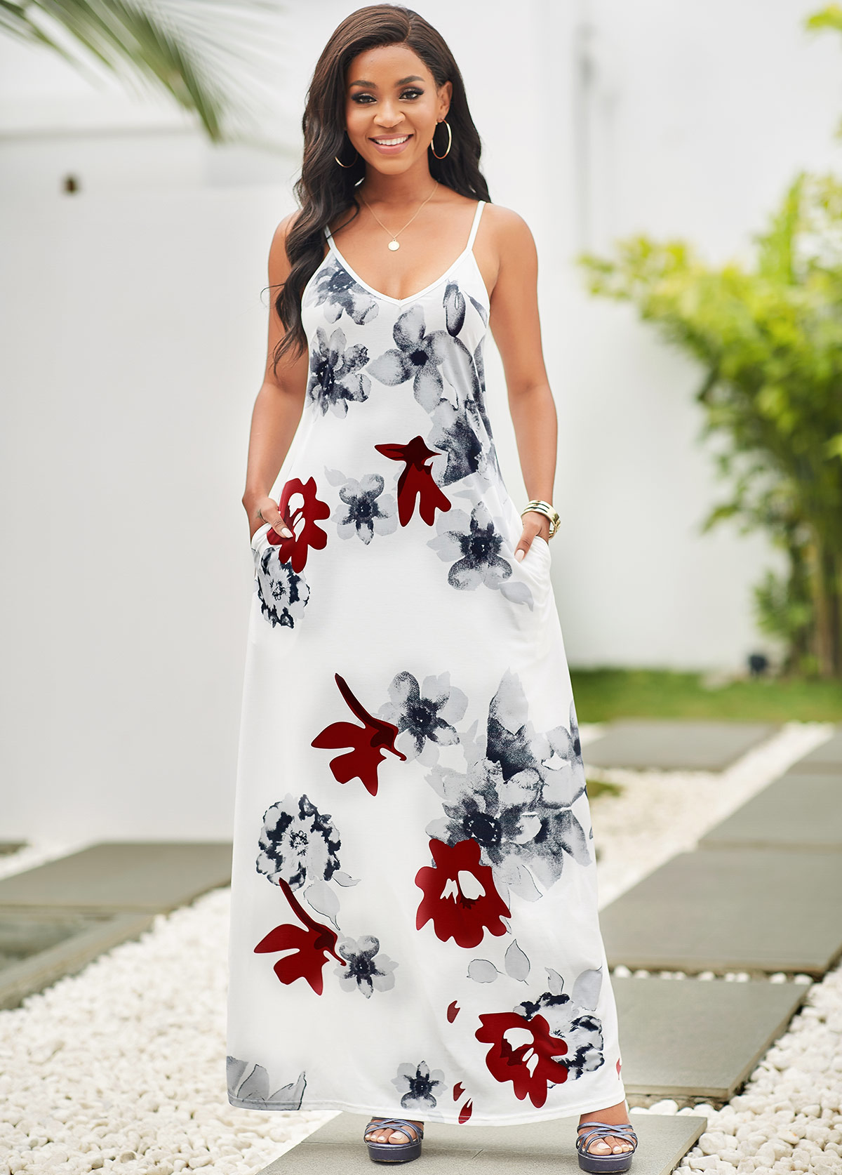 ROTITA Pocket Floral Print Spaghetti Strap Maxi Dress