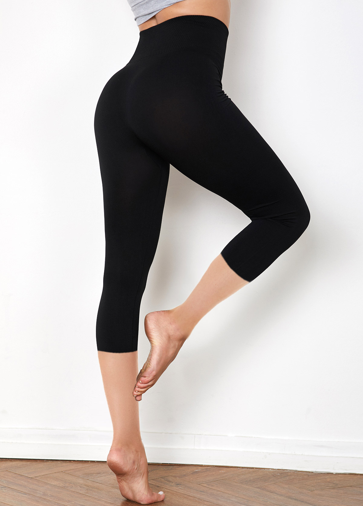 Solid High Waist Cropped Legging Pants