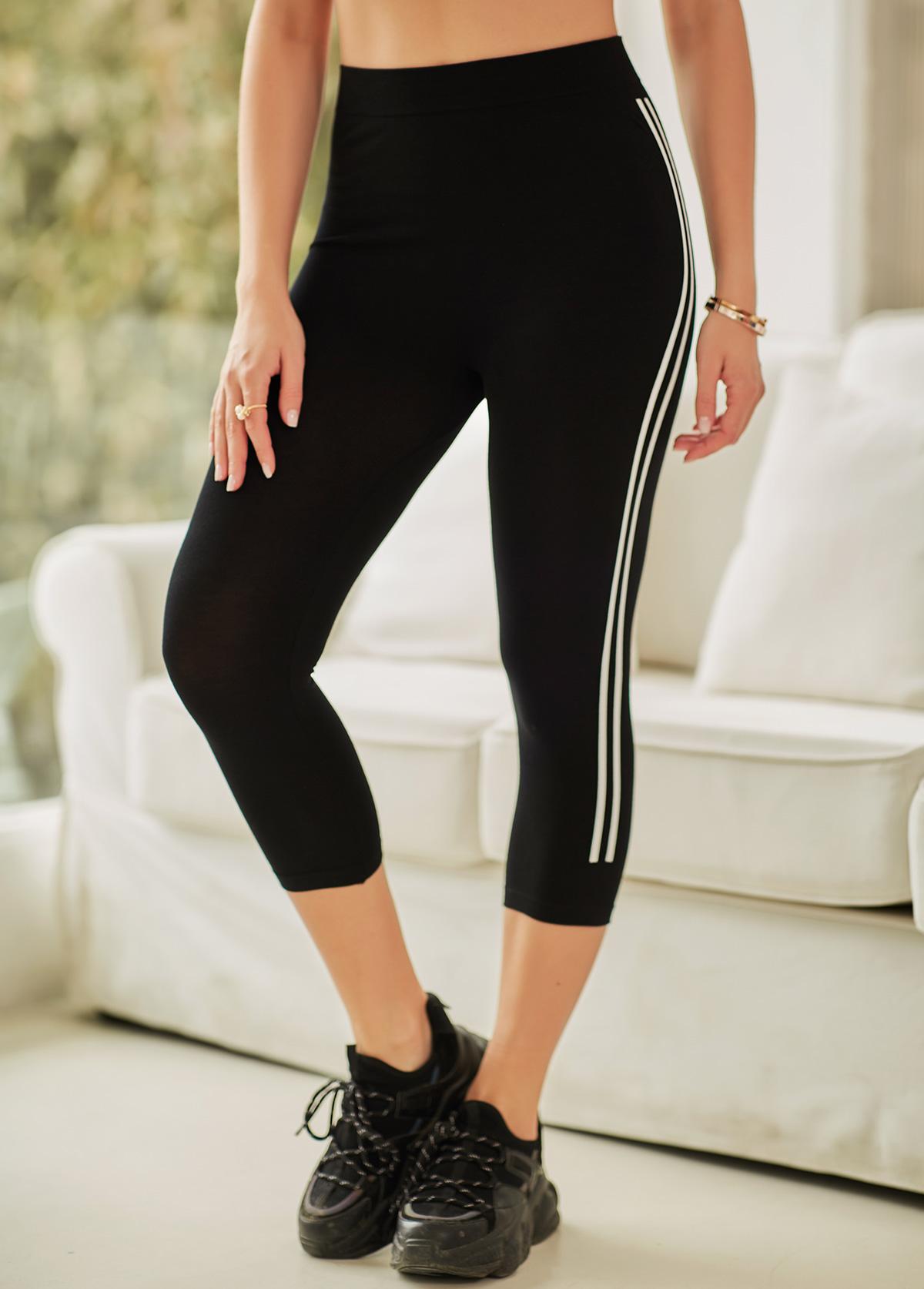 Stripe Print Elastic Waist Cropped Pants