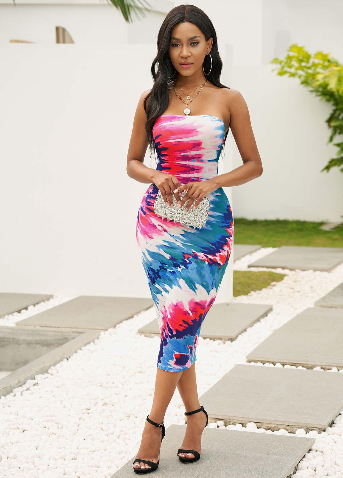 Strapless Tie Dye Print Bodycon Dress