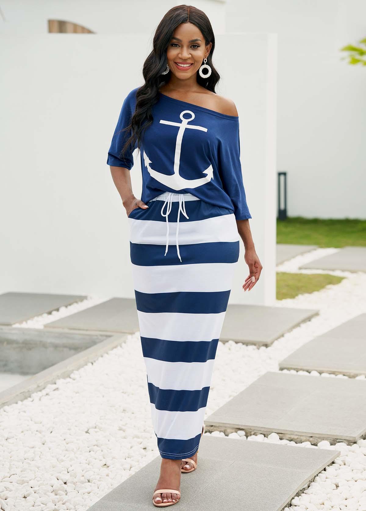 Skew Neck T Shirt and Drawstring Waist Striped Skirt