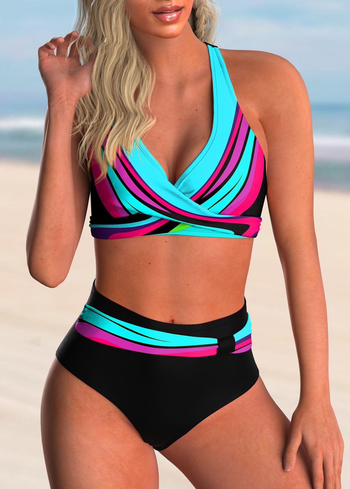 ROTITA Colorful Printed Cross Front High Waisted Bikini Set