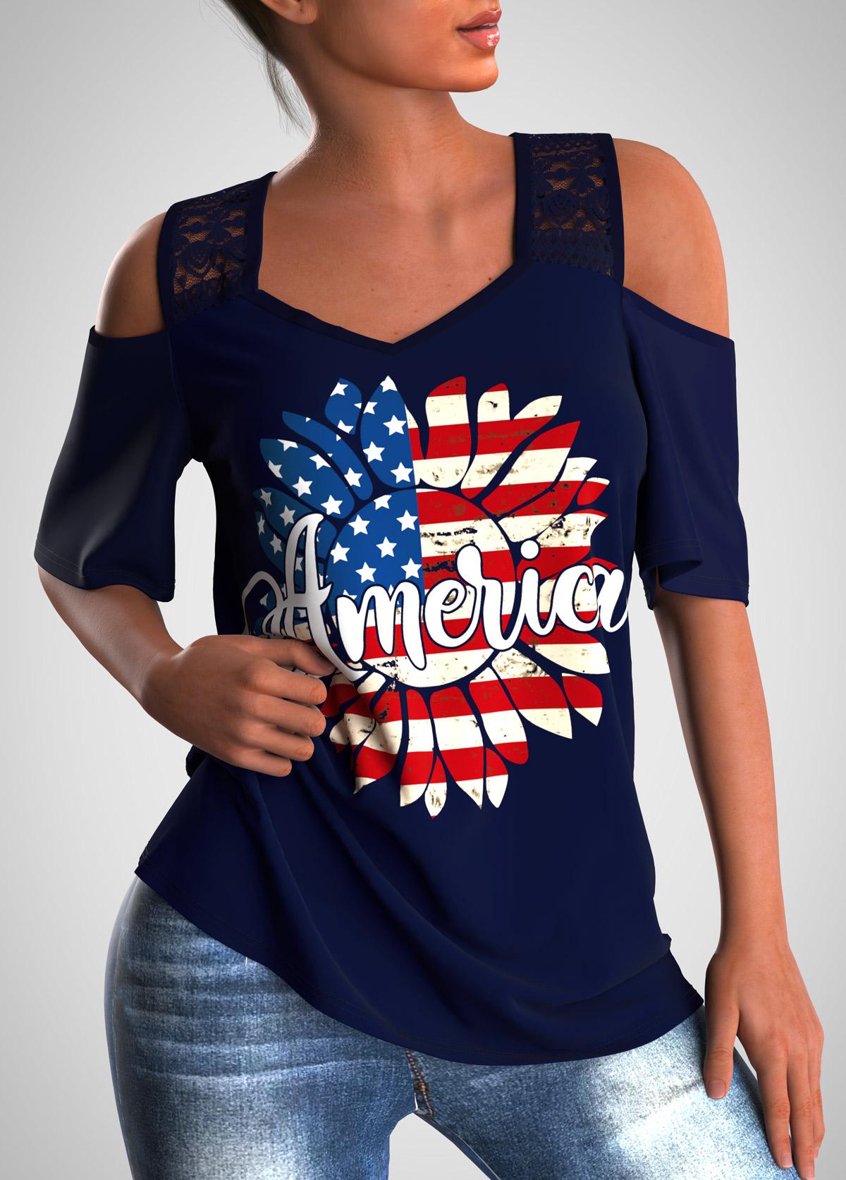 ROTITA Lace Stitching Cold Shoulder American Flag Print T Shirt