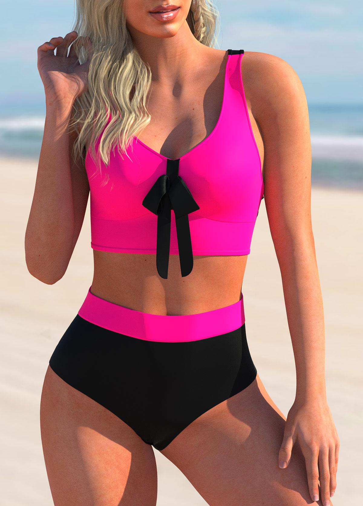 ROTITA Bowknot Criss Cross Back Printed Bikini Set