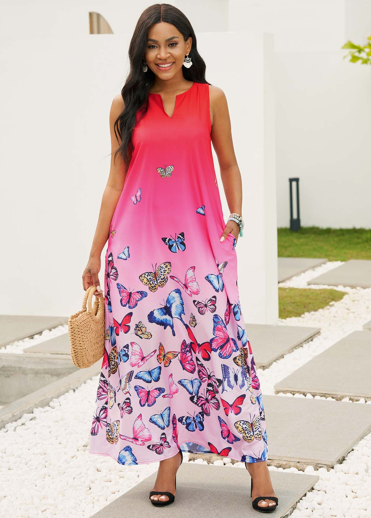 Sleeveless Butterfly Print Split Neck Maxi Dress