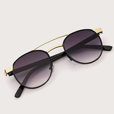 Black Round Frame TR Metal Sunglasses