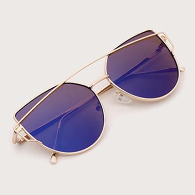 1 Pair Round Frame Metal Blue Sunglasses