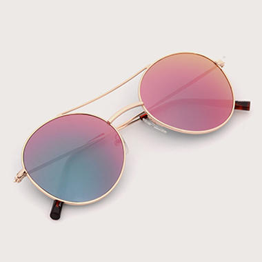 1 Pair Round Frame Metal Sunglasses