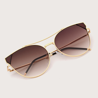 1 Pair Brown Metal Round Frame Sunglasses