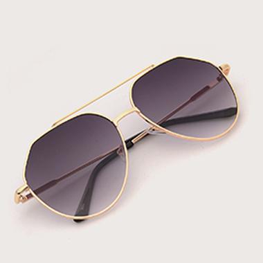 1 Pair Black Round Frame Metal Sunglasses