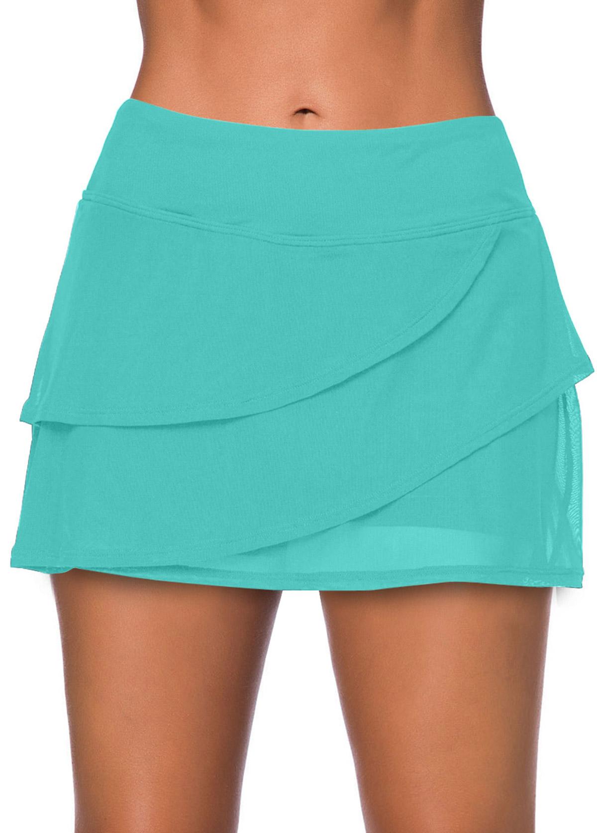 ROTITA Cyan Layered High Waisted Swim Skirt
