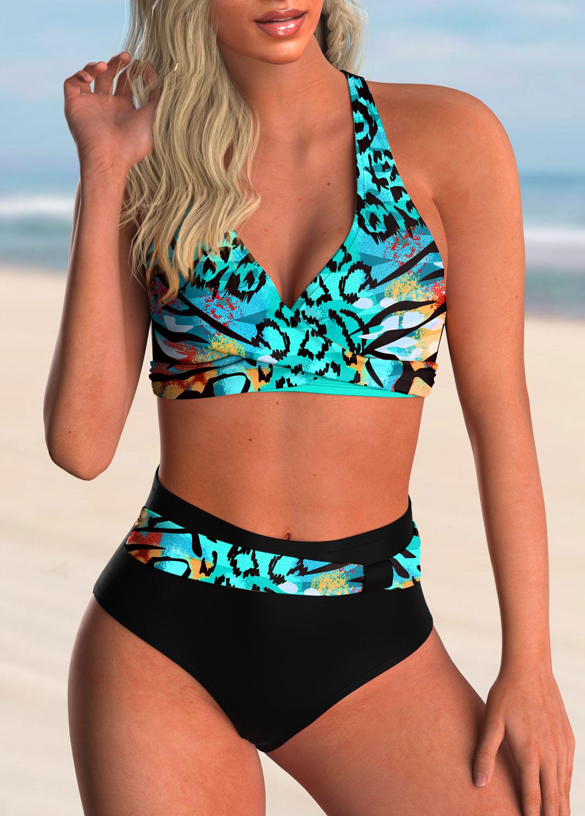 ROTITA Criss Cross Back Animal Pattern Bikini Set