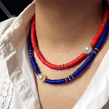 2pcs Boho Pearl Detail Necklaces