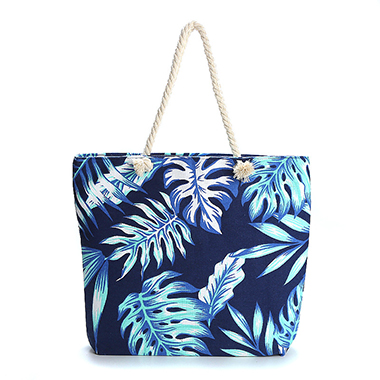 One Shoulder Leaf Print Canvas Bag
