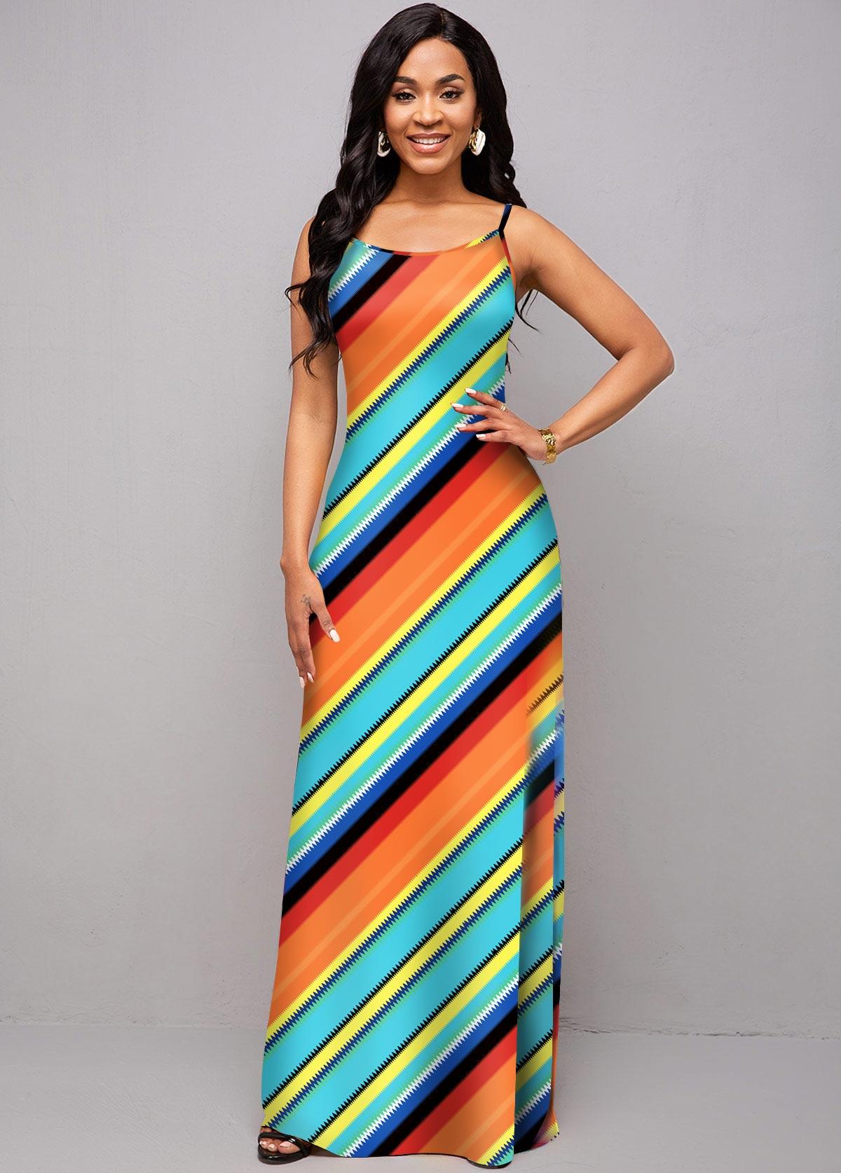 ROTITA Spaghetti Strap Rainbow Stripe Maxi Dress