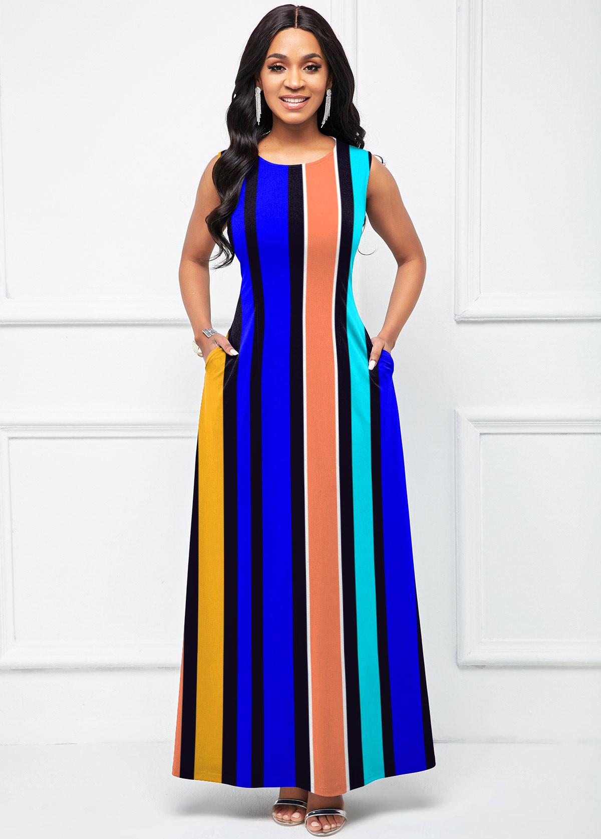 ROTITA Round Neck Rainbow Stripe Sleeveless Maxi Dress