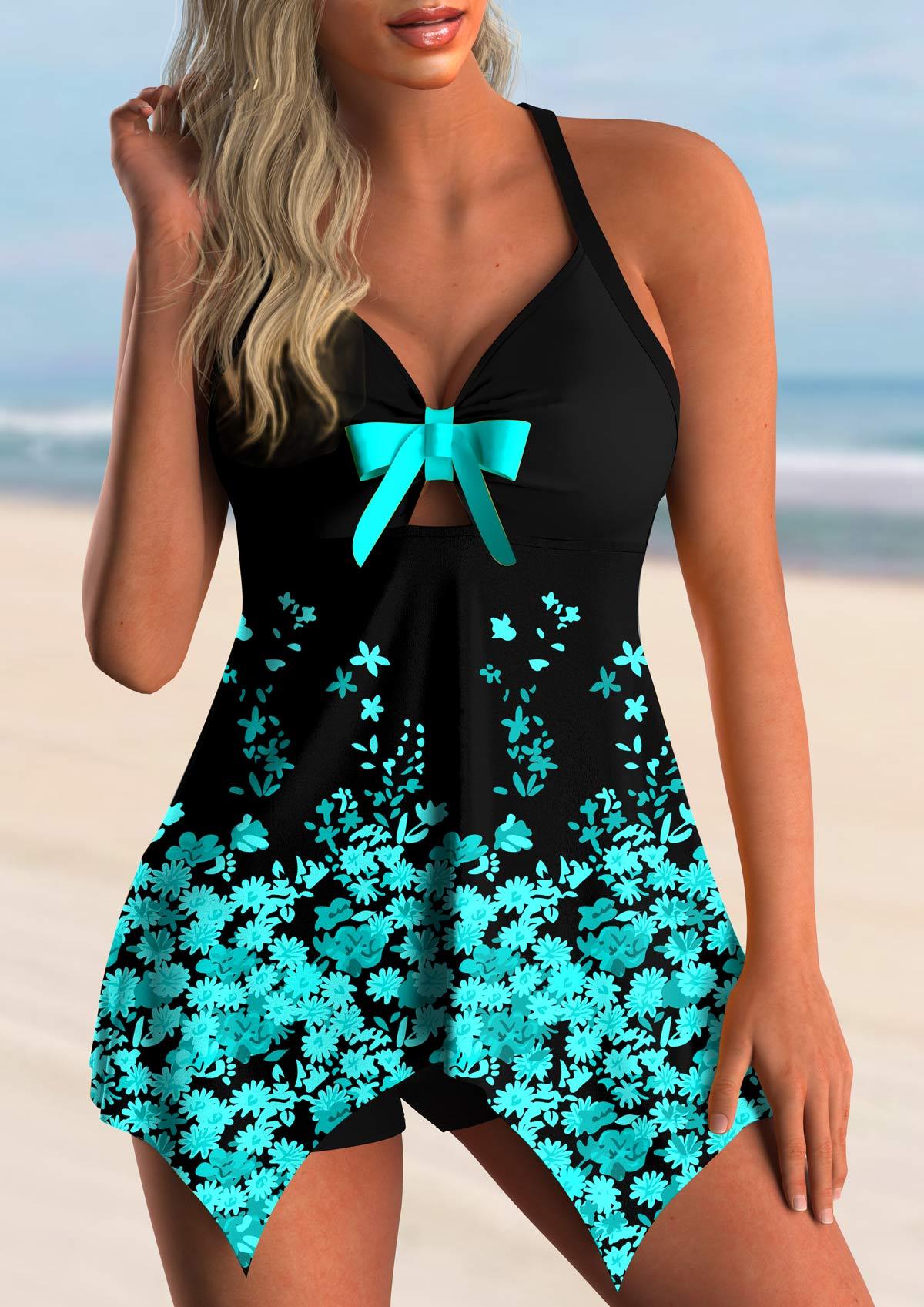 ROTITA Floral Print Bowknot Asymmetric Hem Swimdress and Shorts