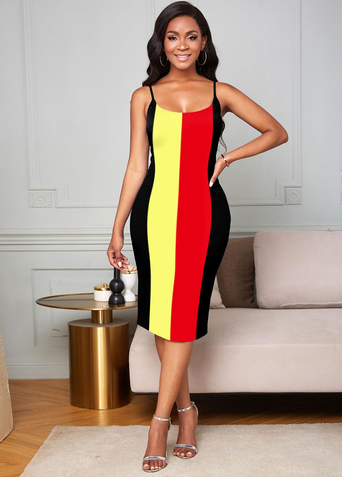 ROTITA Spaghetti Strap Rainbow Stripe Bodycon Dress