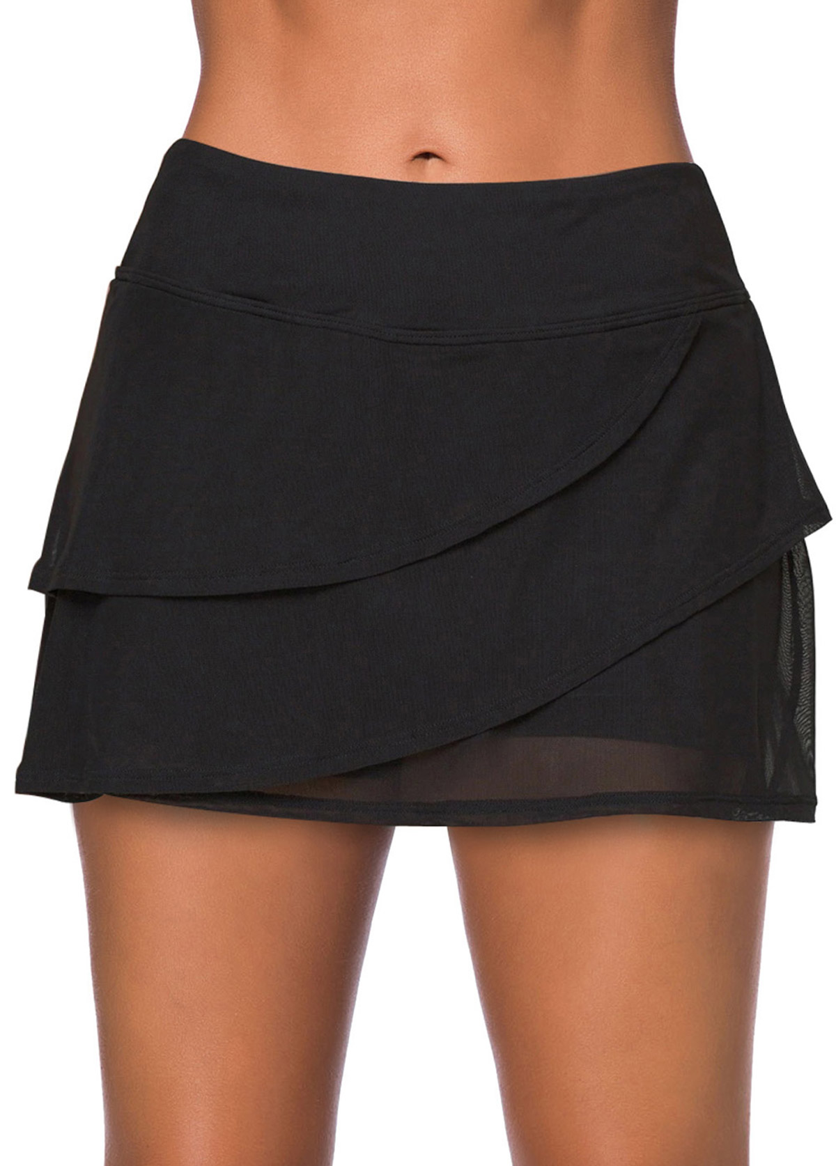 ROTITA High Waisted Layered Black Swim Skirt