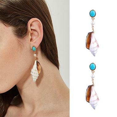 Turquoise Pearl Shell Design Earring Set